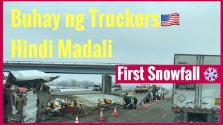 Filipina & American Trucking Life in USA/First Snowfall/Kawawang Truck Driver 🙏(Accident Happened)