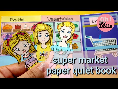 🦄 DIY PAPER QUIET BOOK SUPERMARKET PAPER DOLL MOTHER AND DAUGHTER DRAWING AND PLAYING PAPER CRAFTS
