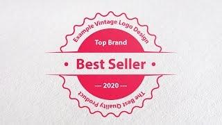 tutorial how to create a professional vintage logo design in adobe illustrator CC | flat retro badge