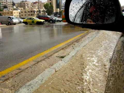 "A ""river"" of water in the streets of Amman, Jordan"
