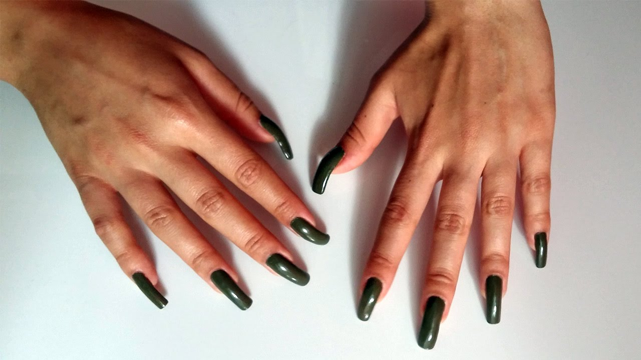 Tapping on white table with green, natural, long nails - YouTube