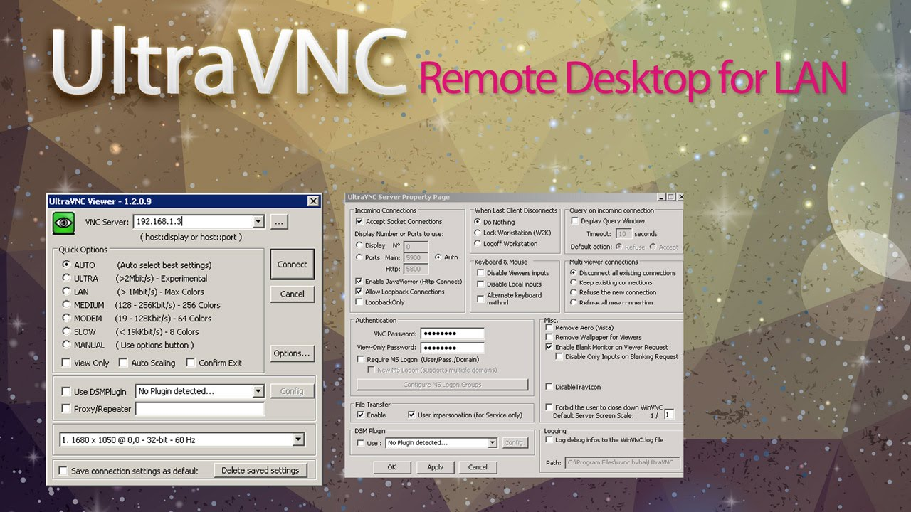 Ultra VNC setting Remote Desktop for LAN