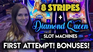 New! 8 Stripes Slot Machine! BONUS! NICE WIN! on Diamond Queen!!
