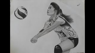 drawing Nootsara Tomkom volleyball player