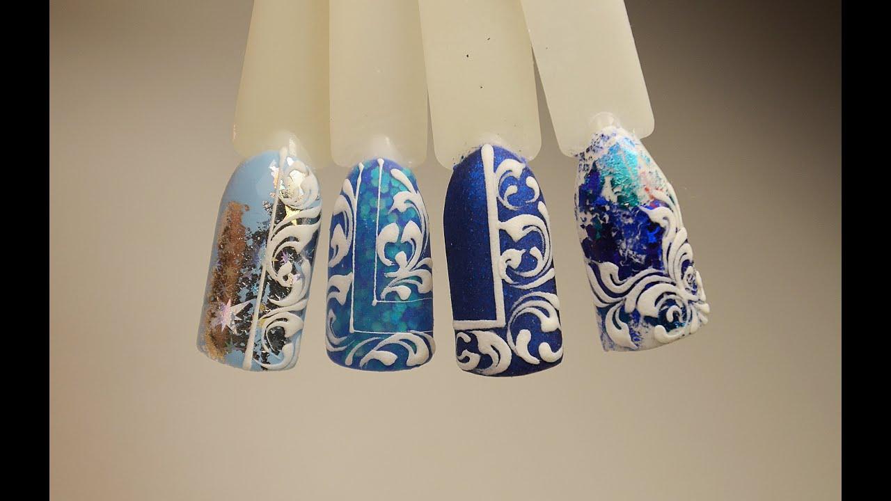 Новогодний дизайн ногтей 25) Вензеля. Дизайн ногтей зима 25
