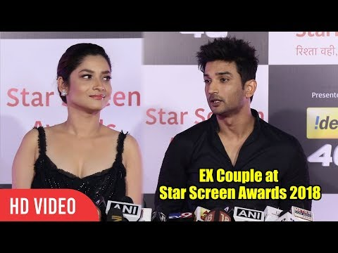 Ankita Lokhande and Sushant Singh Rajput at Star Screen Awards 2018
