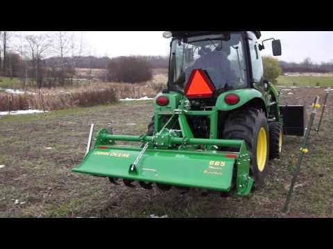 Farming with a John Deere Tiller 665 - YouTube