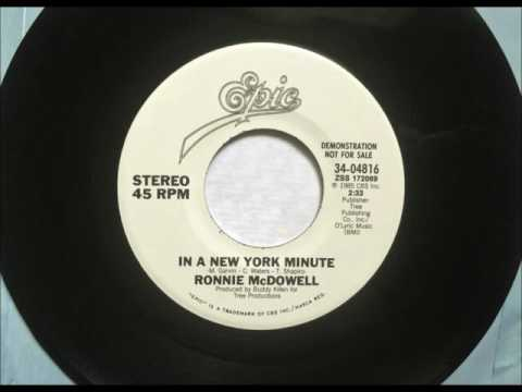 In A New York Minute , Ronnie McDowell , 1985 Vinyl 45RPM