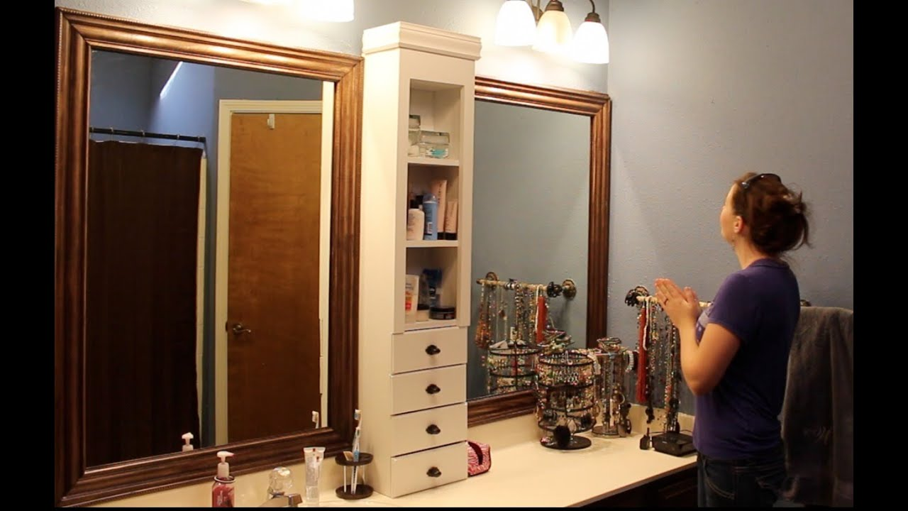 Bathroom Mirror Makeover - Framing a Mirror and Adding Storage - YouTube