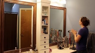 Bathroom Mirror Makeover - Framing a Mirror and Adding Storage