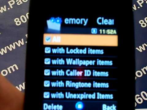Samsung Sync Sgh-A707 - Erase Cell Phone Info - Delete Data - Master Clear Hard Reset