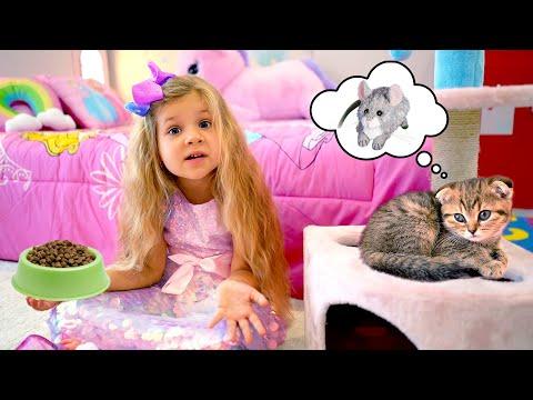 ダイアナ、子猫のお世話の仕方を学ぶ