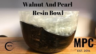 Walnut and Pearl Resin Bowl (Another Try)