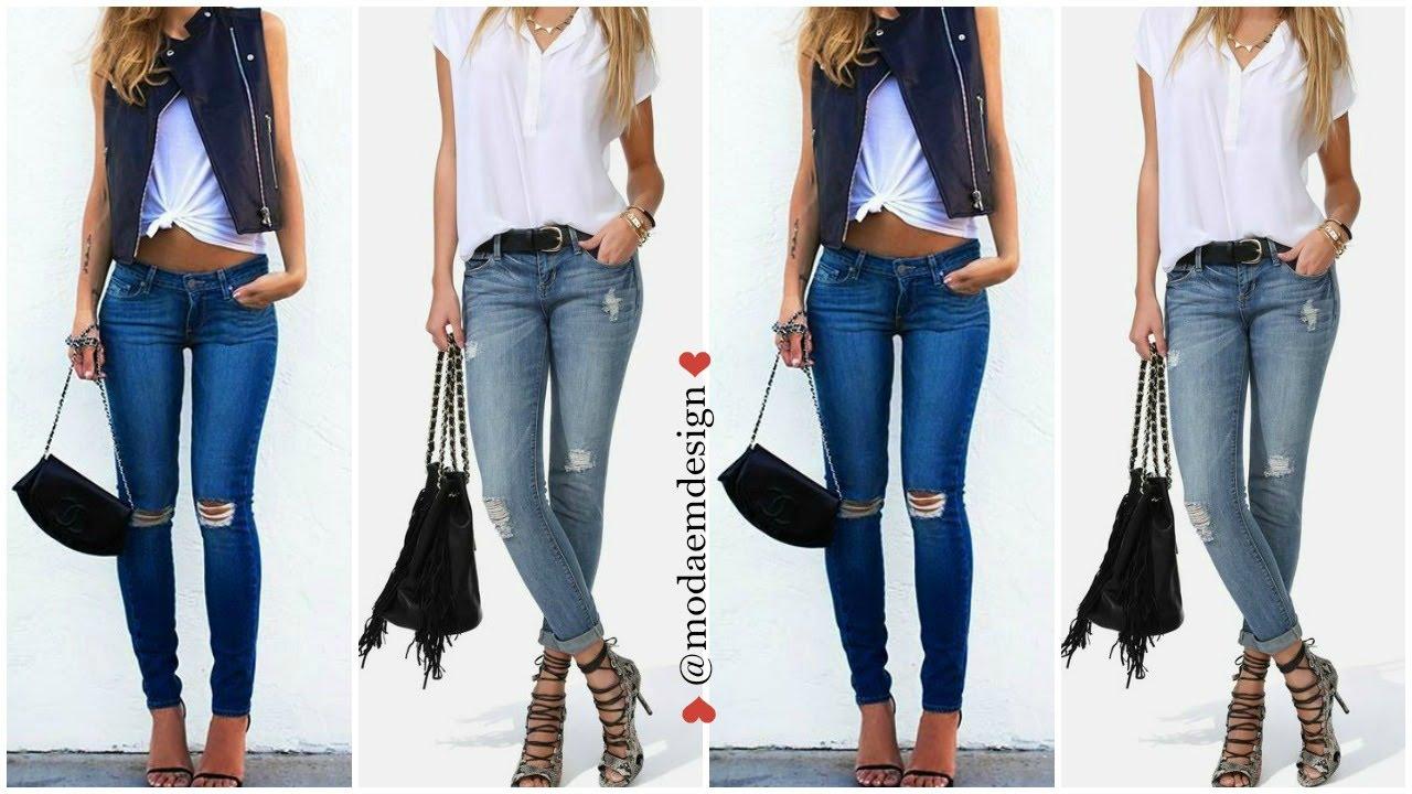 6e8a0eccde MODA 2016 Outfits Con Pantalones de Mezclilla ♥ emdesign - YouTube