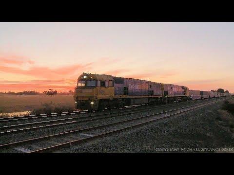 Container Freight Train At Sunset - PoathTV Australian Trains & Railways 2017