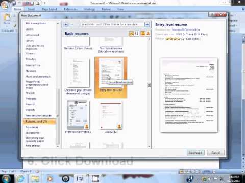 Resume Resume Format On Word 2007 how to use resume template in microsoft word 2007 youtube 2007