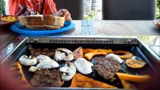 Table With Bbq, Butternut Squash, Kebab Mushrooms