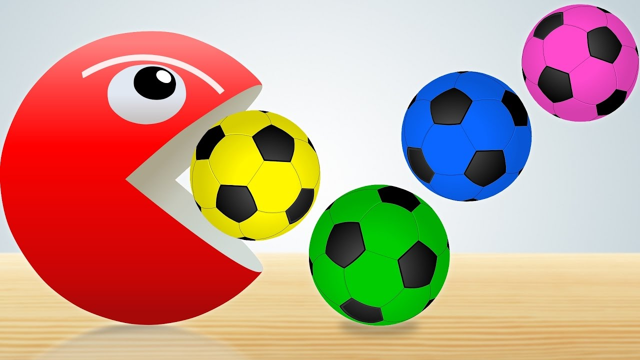 41f057085 Learn Colors with Soccer Balls for Children - Pacman Eating Soccer Balls  Video for Kids