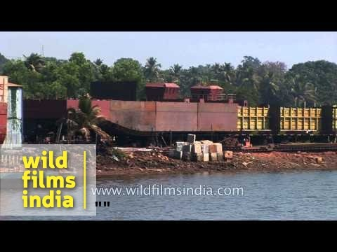 Barge transporting Iron ore on the Mandovi river