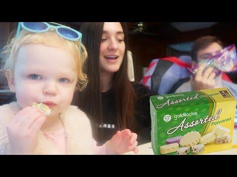 baby's reaction to filipino snacks :: taste test :: polvoron, ube piaya + more