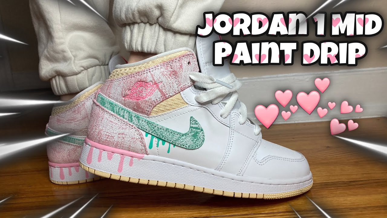 EARLY REVIEW! Jordan 1 Mid Paint Drip (GS)! On Feet Look & Resell Predictions!