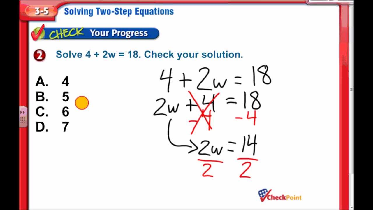 2-Step Equations, Chapter 3 Lesson 5, 7th Grade Math - YouTube