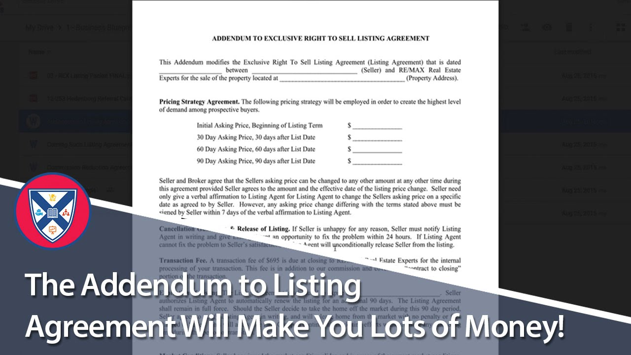 The Addendum To Listing Agreement Will Make You Lots Of Money Youtube