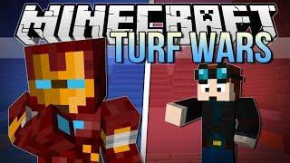 IRON MAN'S A CHEATER! | Minecraft: Turf Wars Minigame