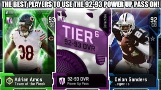 THE BEST PLAYERS TO USE THE 92-93 OVERALL POWER UP PASS ON!   MADDEN 19 ULTIMATE TEAM