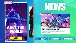 *FREE* SAVE THE WORLD in Fortnite! (Free V-Bucks, Free Skins, & Rewards)