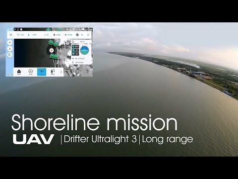UAV Drifter ultralight -  Shoreline mission flight on APM