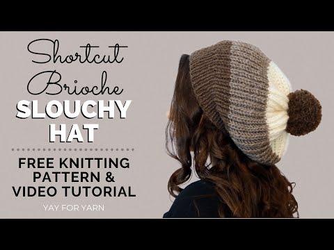 Knit a Chunky Brioche Slouchy Hat in SHORTCUT Brioche Stitch - Free ...