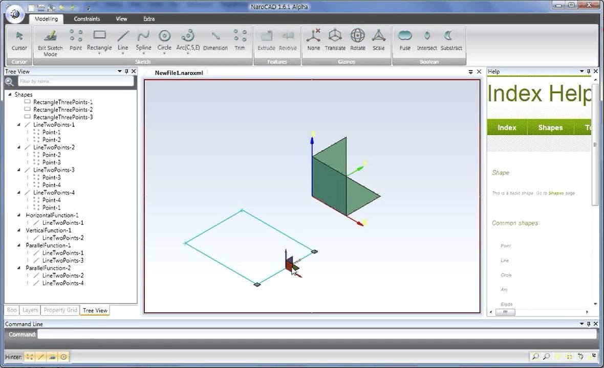 NaroCAD rectangle circle solve...