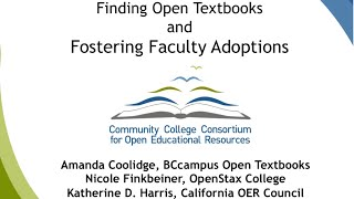 Finding Open Textbooks and Fostering Faculty Adoptions thumbnail