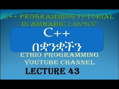Lecture 43: C++ Programming Tutorial function  simple project part 2 in Amharic | በአማርኛ