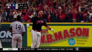 Indians Yan Gomes Walk Off Hit to Beat Yankees 9-8 after Comeback! ALDS Game 2
