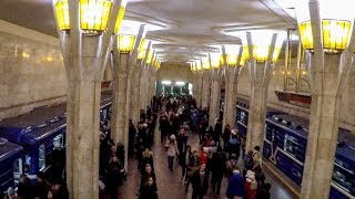 A Walk in the City Center Metro Stations of Minsk, Belarus
