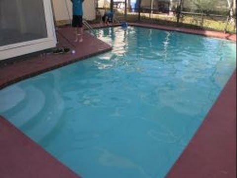 how to clean swimming pool debris using leaf rake youtube. Black Bedroom Furniture Sets. Home Design Ideas