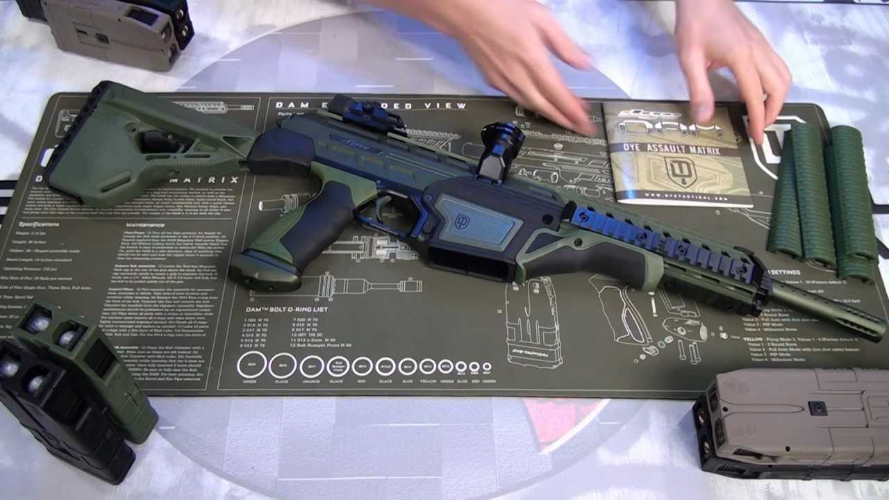 Dye Assault Matrix Dam Mag Fed First Strike Capable Full Auto Paintball Marker Review Youtube
