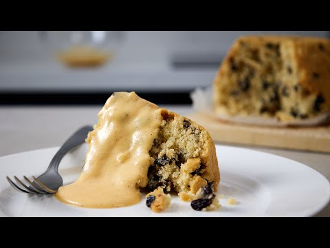 What Makes This Spotted Dick So Good? A Classic British Steamed Pudding With Vanilla Custard