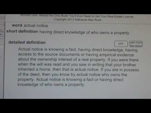 actual notice CA Real Estate License Exam Top Pass Words VocabUBee.com