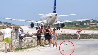 EXTREME A320 JETBLAST Blows Sunglasses Into The Ocean- SAS A320 Takeoff at Skiathos Airport
