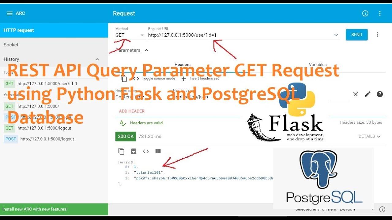 REST API Query Parameter GET Request using Python Flask and PostgreSQL Database