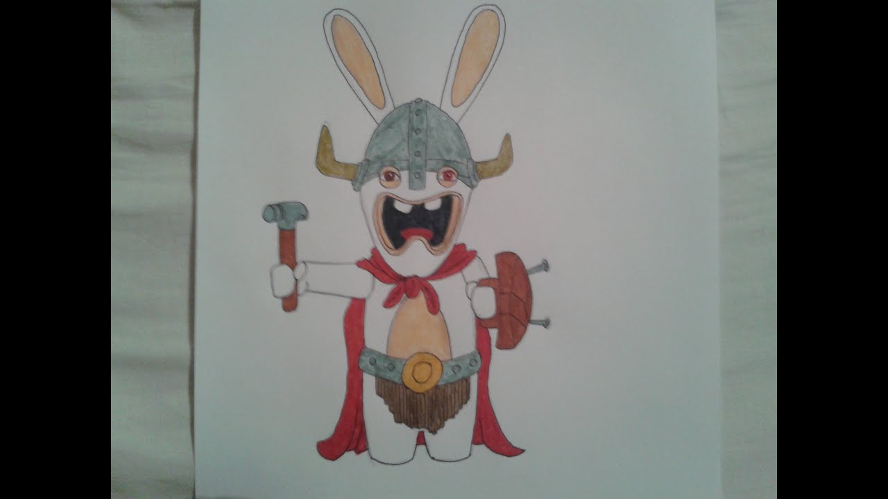 Tuto n 3 dessin de lapin cr tin viking en 15 tapes faciles youtube - Dessin cretin ...