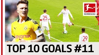 Top 10 Goals - Players with Jersey Number 11 - James, Reus, Costa & Co.