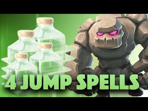 Learn 4 Jump Spells W/ Mass Golem Strategy | How To Gowiwi, Gowiz With 4 Jump | Clash Of Clans