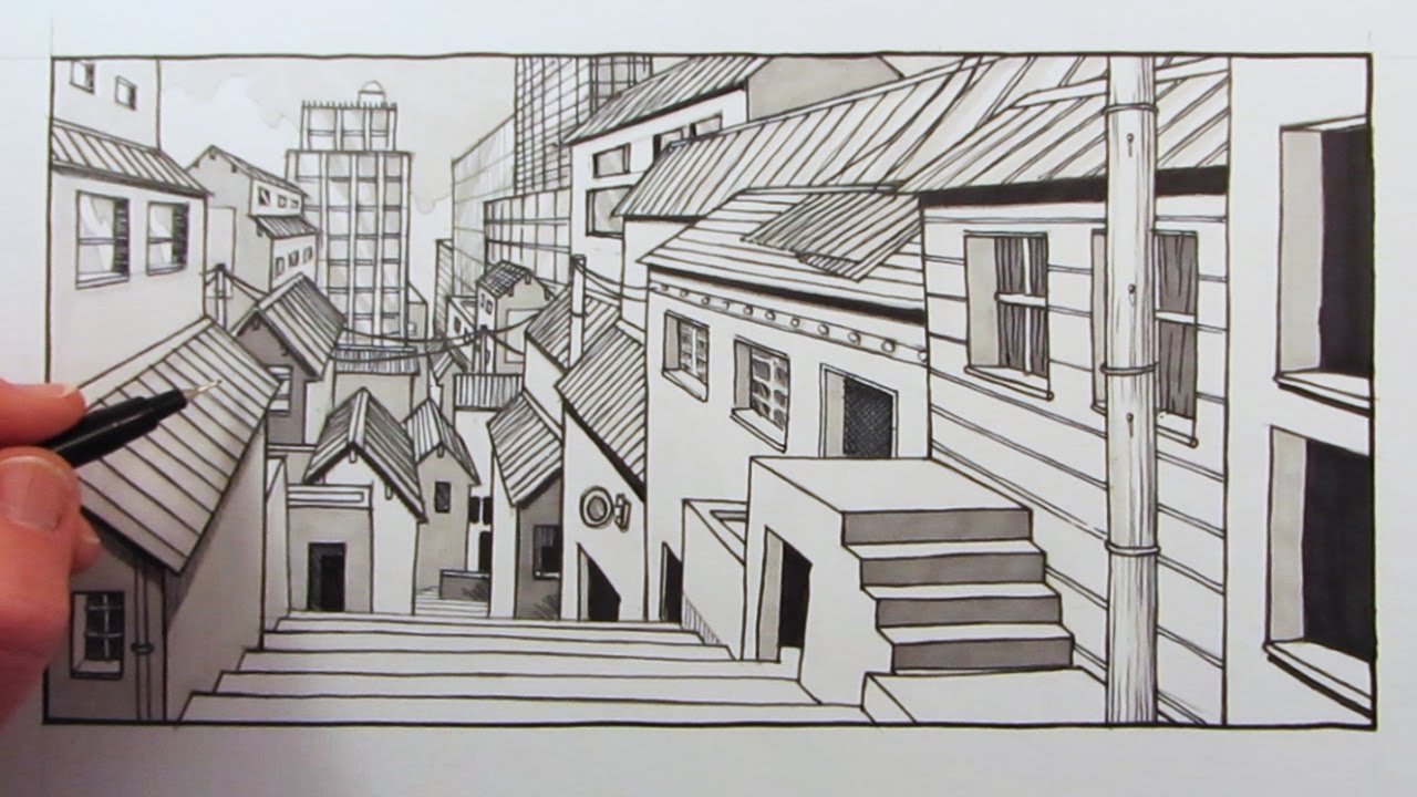 How To Draw 1 Point Perspective City Background Fast