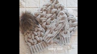 Теплый,зимний комплект: шапка и снуд с узором из кос. Часть 1. Шапка с двойной резинкой.Hat & snood.