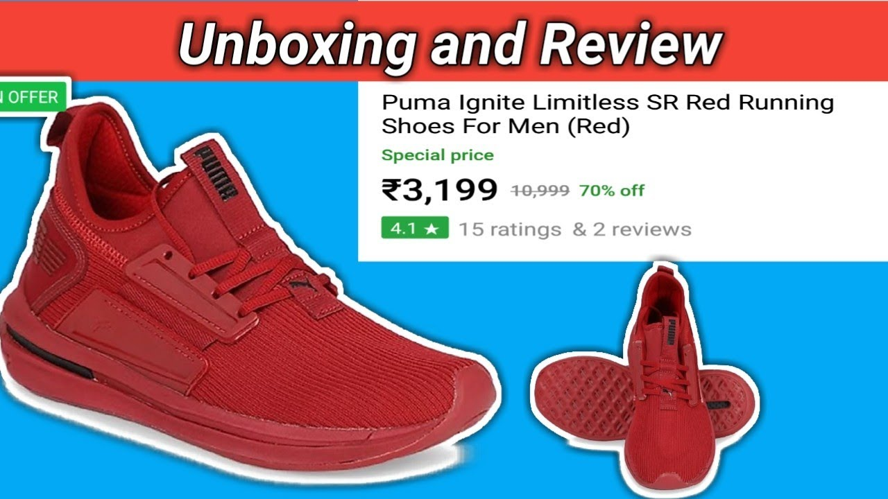 reputable site 2ae8a 3bbb4 Unboxing PUMA Ignite Limitless SR Red Running Shoes {Hindi} By Online Time