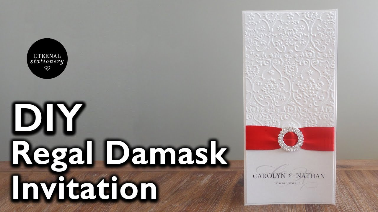 DIY Elegant Damask Embossed Wedding Invitation | DIY ...